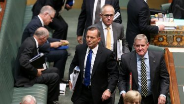 Prime Minister Tony Abbott leaves question time on Monday.