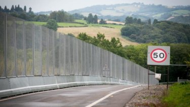 A security fence erected on the roads near the Celtic Manor resort ahead of this week's NATO summit in Wales.