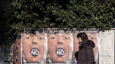 Posters for the 'No' campaign in Rome. Photo: Alessia Pierdomenico/Bloomberg