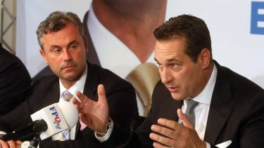 Norbert Hofer, left, and Heinz-Christian Strache, head of Austria's Freedom Party.
