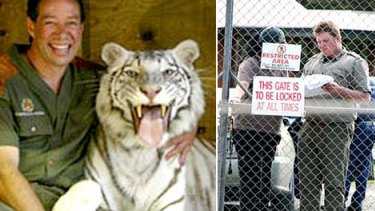 (Left) A file photo of Craig 'The Lion Man' Busch with a white tiger and cubs, and (right) police at the wildlife park where the attack occurred.