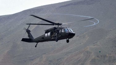 A UH-60 Black Hawk helicopter,  one of which has reportedly crashed in South Korea.