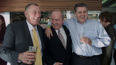 The boys' club ...  John Singleton, Alan Jones and Ray Hadley celebrate ratings success at a Darling Harbour bar in 2002