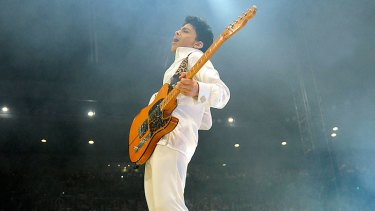 Prince performs at Rod Laver Arena last night.
