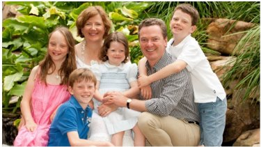 Carolyn and Christopher Pyne with their four children (from left) Eleanor, Barnaby, Aurelia and Felix, in 2012.