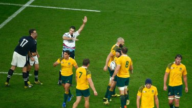 Defining moment: Referee Craig Joubert awards Australia a late match-winning penalty.