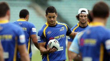 Lean machine ... Jarryd Hayne training at Parramatta Stadium yesterday. The star fullback will strip two kilograms lighter than last season with a view to greater involvement during games.