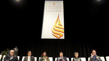Diverse voices: Murray Green (left), Inrom Cotan, Manju Kalra Prakash, Michael Yeoh, Barbara Livesey and Jonathan Mills.
