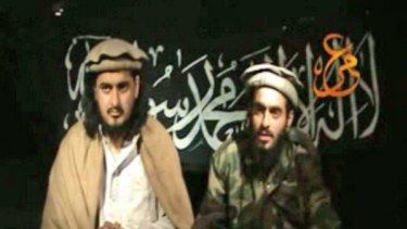 Powerful recruiting tool ... a Taliban video shows Hakimullah Mehsud and Humam Khalil Abu-Mulal al-Balawi.