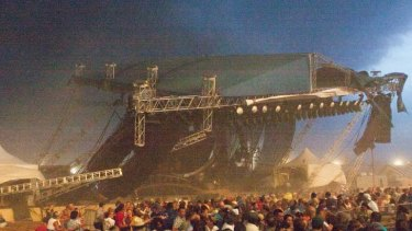 INDIANAPOLIS, IN - AUGUST 13: The stage collapses at the Indiana State Fair August 13, 2011 in Indianapolis, Indiana. The stage fell just before country duo Sugarland were scheduled to perform, killing at least four people and injuring as many as 40 more.  (Photo by Joey Foley/Getty Images)