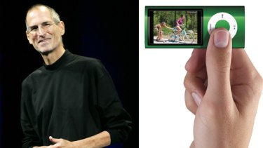 Apple CEO Steve Jobs smiles at an Apple event in San Francisco, where he launched Apple's new video-enabled iPod Nano.
