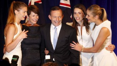 Tony Abbott with wife Margie and their daughters (from left) Frances, Louise , and Bridget on election night.