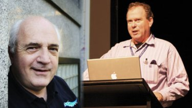 "IPv6 Forum Australia president Michael Biber (left) says businesses have been reticent to switch to Internet Protocol version 6, a situation that APNIC chief scientist Geoff Huston (right) calls a ""textbook market failure""."