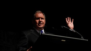 Melbourne Lord Mayor Robert Doyle speaks at the opening of the 2013 Melbourne Writers Festival, Melbourne Town Hall, Thursday, Aug. 22, 2013. (AAP Image/Paul Jeffers) NO ARCHIVING AAP