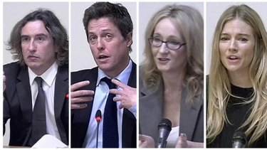 Steve Coogan, Hugh Grant, author J.K. Rowling and Sienna Miller speak at the UK phone-hacking inquiry.