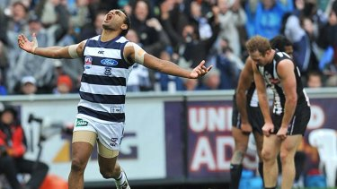 Travis Varcoe rejoices after the final siren in the 2011 grand final.