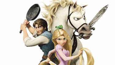 The story of Rapunzel is played out in Tangled.