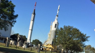 The Mercury/ Redstone rocket (left) at Johnson's Rocket Park, alongside Little Joe II.