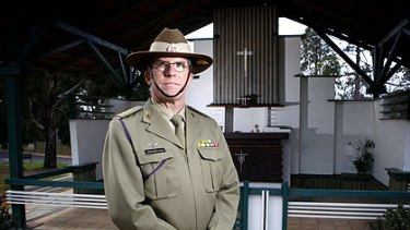 Tour of duty: Army chaplain Haydn Swinbourn at Changi chapel in Canberra.