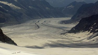 Running out ... Swiss glaciers are shrinking, on average, by 10 metres a year.