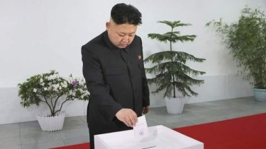 North Korean leader Kim Jong-Un casts his ballot in the election of a deputy to the Supreme People's Assembly.