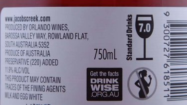 'Too soft'... labelled warning to wine drinkers.