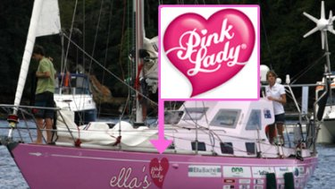 The Pink Lady Apples logo (inset), and the logo for Ella's Pink Lady used on Jessica Watson's boat.