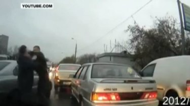 A road rage altercation caught on dashboard camera and uploaded to YouTube.