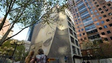"""Street beauty: Rone's """"L'inconnue de la Rue"""" in Collins Street."""