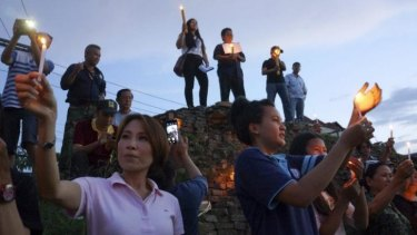 Anti-coup protesters at the old city wall of Chiang Mai, in northern Thailand.