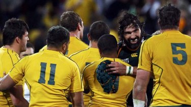 Tackled themselves into a frenzy ... Victor Matfield congratulates exhausted Wallabies players after the final whistle.