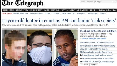 Shame file ... London's Daily Telegraph has published pictures of the accused, including, from left, the 11-year-old boy, Richard Myles-Palmer and Alexis Bailey,