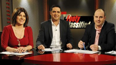 Garry Lyon hosting Footy Classified with Caroline Wilson and Craig Hutchison.