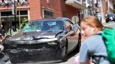 The car reversing after driving into a group of protesters demonstrating against a white nationalist rally in Charlottesville on Saturday.