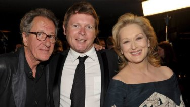 AACTA chief executive Damian Trewhella with president Geoffrey Rush and Meryl Streep at the AACTA International Awards in Los Angeles in 2012.