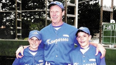 Team spirit … Mark Ellis with his son Mitchell, at left, and Lewis Thorpe in Japan in 2007.