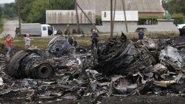 Debris at the site of the MH17 plane crash in eastern Ukraine.