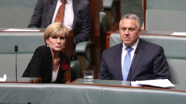Foreign Affairs Minister Julie Bishop with Joe Hockey after his valedictory speech on Wednesday.