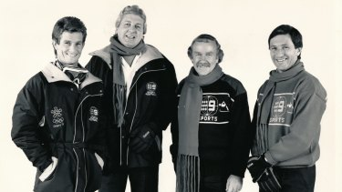 Television icon: Mike Gibson with Channel 9 colleagues Mark Warren, Darrell Eastlake and Ken Sutcliffe in 1990.