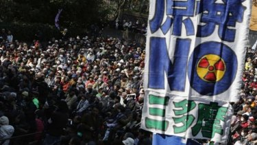 No nukes: Thousands of protesters marched in the Japanese capital on Sunday, ahead of the third anniversary of the Fukushima nuclear accident.