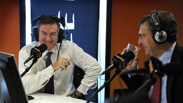 Tuning out ... Eddie McGuire speaks to John Brumby on his ailing breakfast radio show.