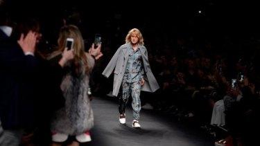 On the catwalk: Hansel (Owen Wilson) walks the runway at Valentino's show during Paris Fashion Week.