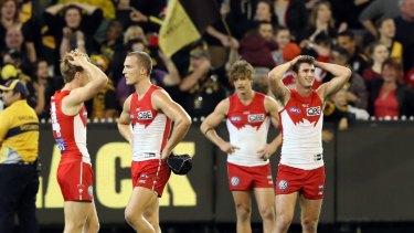Disappointment: The Swans after their loss to the Tigers.