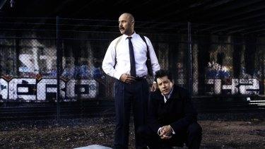 Tension: <i>A Steady Rain</i> starring Justin Stewart Cotta (left) and Nick Barkla.