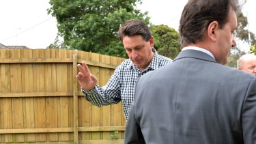 Racing Victoria's chief steward Terry Bailey outside his house after shots where fired at his front door.