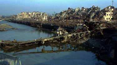 Grozny, once home for 400,000 people, in ruins after Russian bombardment in 1995.