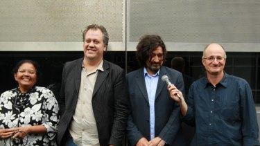 Wisecracks ... (from left) Patricia Weerakoon, Craig Barker, Dieter Hochuli and host James O'Loghlin.