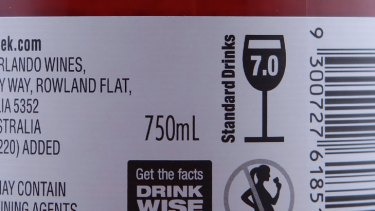 Warning label found on some alcoholic beverage packaging.
