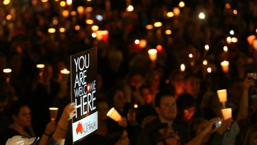 Moving display of solidarity: Light The Dark Sydney brought nearly 10,000 people together to call for change on Australia's refugee policy.