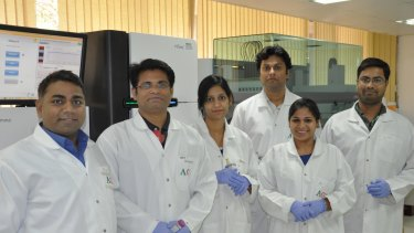 Professor Rajeev Varshney (left) with other peanut sequencing project researchers